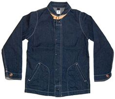 Mens Denim Work Jacket, Japan, with leather trim