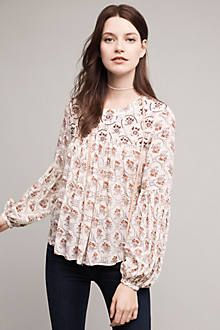 Sala Beaded Peasant Top by Floreat $118.00 Viscose Beaded detail Button back