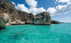 Unique rock formations at Bay of Eagles, Dominican Republic, one of the most beautiful beaches in the world.