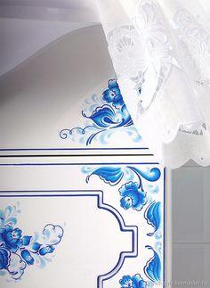 """Купить Комплект мебели для ванной Гжель """"Синяя птица"""" в интернет магазине на Ярмарке Мастеров"""
