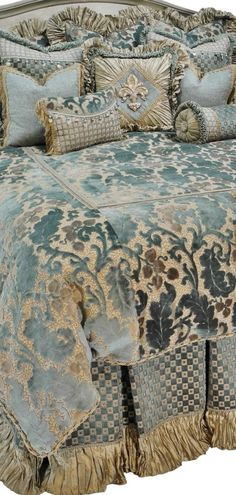 The Paradise Collection by Reilly-Chance Collection Soft Blue Chenille with Taupe Silk