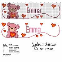 Cross stitch baby female name Emma with teddy bear and hearts free pattern download
