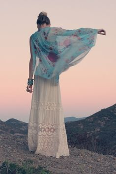 white maxi skirt, floral scarf/wrap/shawl