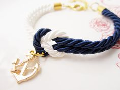 bridesmaid gift, knot bracelet ,tie the knot bracelet with anchor charm , navy with nautical bracelet, rope bracelet    amazing gift for you and