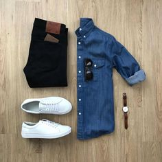 Denim shirts are always in trend no matter the time . Mens Fashion ideas Mens Fashion Flatlay Mens Flatlays Mens Outfit ideas What to wear to office Men How to dress up for work How to dress on budget Suit Fashion, Fashion Kids, Mens Fashion, Urban Fashion, Fashion Outfits, Denim Shirt Men, Men's Denim, Denim Style, Stylish Mens Outfits