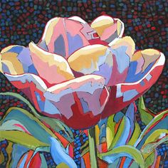 contemporary abstracted floral painting by Carolee Clark