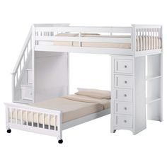 Shop for NE Kids School House White Stair Loft with Chest End and Full Lower Bed. Get free delivery at Overstock.com - Your Online…