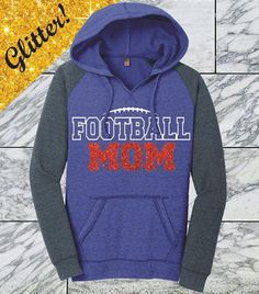 Hey, I found this really awesome Etsy listing at https://www.etsy.com/listing/539065162/red-glitter-football-mom-hoodie-game-day