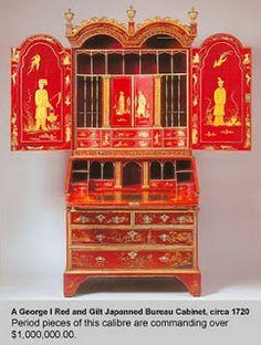 House Revivals: March 2010 George 1 red japanned bureau cabinet, c1720