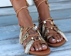 sandals gladiator leather sandals friendship bracelets pom
