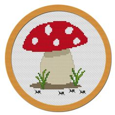 Fabric Mushroom Pattern | Cute Little Mushroom Cross Stitch Pattern PDF File