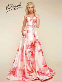 Floral Print Strapless Petal Peach Dress | Mac Duggal 79094H. Available in sizes 0-16. #prom2k17