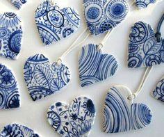 Ceramic hearts.