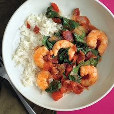 Prepare this simple supper recipe in stages using one pan: first, fry the bacon; then, cook the collards; finally, saute the shrimp. Combine the shrimp and greens, serve atop cooked white rice, and garnish with bacon. In place of collard greens, you can use Swiss chard, kale, or green cabbage.