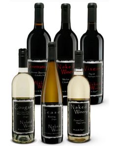 """Gettin Naked Case Deal:   Sometimes you just want to get """"Naked""""! This sample case comes with 2 of each varietal: Pinot Noir, Pinot Gris, Tease, Foreplay, Climax and Penetration."""
