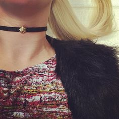 Choker kind of day, wearing the Double Wrap Black Satin Strap and 14K and Diamond Ray Star.