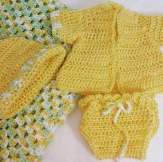 Hand Crochet Baby Layette Preemie Blanket Sweater Pants Diaper Cover  Beanie #Handmade #Sweaterpantshatblanket #DressyEverydayHoliday