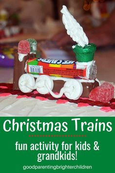 Here are 8 Christmas activities and celebrations your kids/grandkids will love! Making gingerbread houses from dough & popsicle sticks, candy trains, 4 tips to decorating Christmas trees with kids/grandkids, making life-size hugs for gifts, Christmas books & more. #christmas #christmastraditions #christmastraditionsfamilies #christmastraditionsideas #christmastraditionsbooks #grandparentsandchristmas #grandparentscrafts #grandparentsactivities Christmas Books For Kids, Christmas Train, Holiday Crafts For Kids, Holiday Fun, Christmas Stickers, Christmas Paper, Christmas Music, Christmas Traditions Kids, Christmas Activities