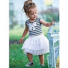 [XmasSale]Bleu rayé blanc plissé robe de princesse de fille - EUR € 7.26