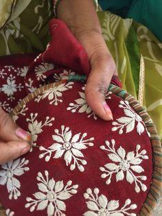 Embroidery Statin Stitch Phulkari embroidery unique to Punjab. Phulkari Embroidery, Embroidery On Kurtis, Hand Embroidery Dress, Indian Embroidery, Hand Embroidery Stitches, Hand Embroidery Designs, Embroidery Techniques, Embroidery Thread, Embroidery Patterns