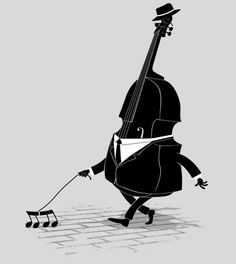 Walking bass is designed by triagus and a nice music shirt design. Sound Of Music, Music Is Life, Good Music, Humor Musical, Film Gif, Music Jokes, Double Bass, Oboe, Clarinet
