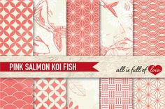 Coral Pink Patterns Koi Fish Background Kit By All is full of love