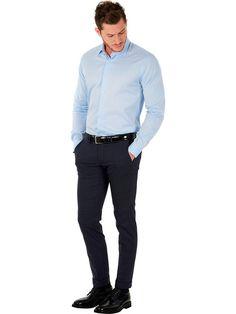 Marcus classic light-blue shirt with cutaway collar