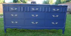 DRESSER SHABBY CHIC/FRENCH PROVINCIAL, 9 DRAWER NAVY BLUE