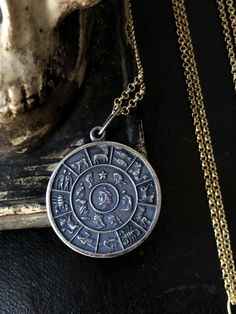 Composed of solid sterling silver and adorned with twelve zodiac signs. Zodiac Jewelry, Snake Jewelry, Memento Mori, Oxidized Sterling Silver, Rare Antique, Artisan Jewelry, Bump, Zodiac Signs, Astrology