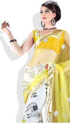 Adaa's Yellow Printed Art Silk Saree