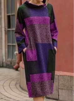 Black Friday Casual Color Block Pockets Round Neckline A-line Dress - Floryday Womens Fashion Online, Latest Fashion For Women, Womens Clothing Stores, Clothes For Women, Shopping Online, Stylish Dresses For Girls, Mi Long, Fall Dresses, Tunic