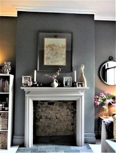 A Snuggly Snug – Decorating with Dark Colours – Edna & Ossie Living Room Decor Fireplace, Living Room Windows, Living Room Grey, Home Living Room, Living Room Designs, Fireplace Ideas, Fireplace Mantles, Fireplace Surrounds, Cottage Living