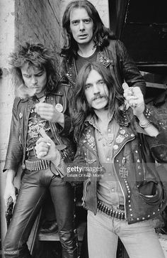 British heavy rock band Motorhead, London, 1978. Left to right: drummer Phil 'Philthy Animal' Taylor, guitarist 'Fast' Eddie Clarke and bassist and singer Lemmy (Ian Kilmister).