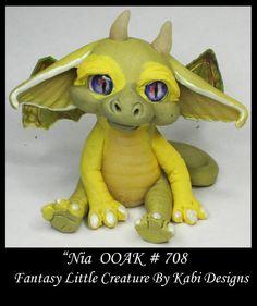 Fantasy Little Dragon DollHouse Art Doll Polymer Clay CDHM OOAK IADR Nia Mini #KabiDesigns
