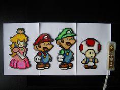 Peach, Mario, Luigi and  Toad hama beads