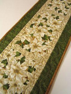 Christmas Table Runner, Handmade Quilted Poinsettias