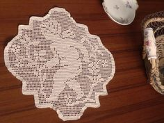 Square Angel Doily In Vintage Beige Yarn by Aimezvousclassique