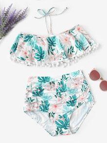 Striped Trim Bikini Set With Shorts 3pack Shein Sheinside