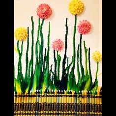 Crayon art: melted crayons and craft store flowers