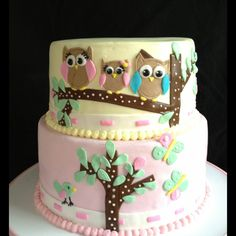 Pink & Yellow Owl Family Baby Shower Cake