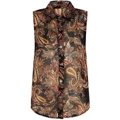 Apricot Rust Paisley Print Sleeveless Shirt (€27) ❤ liked on Polyvore featuring tops, sheer top, sheer shirt, sheer collared shirt, shirts & tops and sleeveless collared shirt