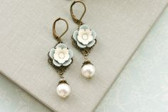 Marolsha Wedding and Bridal Jewelry on Etsy...I need these spring floral drop earrings. NEED them.