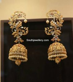 Antique Gold Lakshmi Jhumkas - online gold jewellery, marcasite jewelry, online store for jewellery *ad Gold Jhumka Earrings, Indian Jewelry Earrings, Jewelry Design Earrings, Gold Earrings Designs, India Jewelry, Gold Jewellery Design, Designer Earrings, Jhumka Designs, Marcasite Jewelry