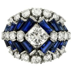 TIFFANY & CO Sapphire, Diamond, Platinum & Iridium RIng