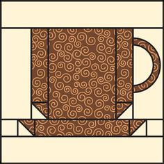 Free coffee-cup quilt block pattern - handle could be squared off.