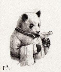 Via Fang ~ The Bartender Billy / Panda & Sons menu illustration