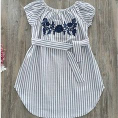 Flower Embroidered Vertical Stripe Belt Off-Shoulder Dress - Kindermode Baby Girl Frocks, Frocks For Girls, Kids Frocks, Girls Frock Design, Baby Dress Design, Girls Dresses Sewing, Dresses Kids Girl, Girls Casual Dresses, Baby Dresses