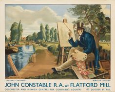 1937 John Constable at Flatford Mill LNER Railway Poster Reprint British Travel, Travel Uk, Little England, Political Posters, Railway Posters, Vintage Travel Posters, Illustrations, Art Club, Great Britain