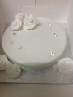 60th wedding anniversary cake with subtle detailing.