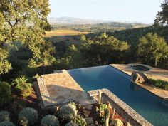 A swimming pool at a Napa Hills estate, by Scott Lewis Landscape Architecture. Photograph by Scott Lewis Landscape Architecture.